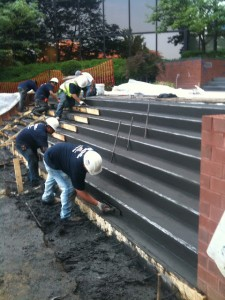 Colored Concrete Stairs Being Poured for Concrete Repairs in Maryland